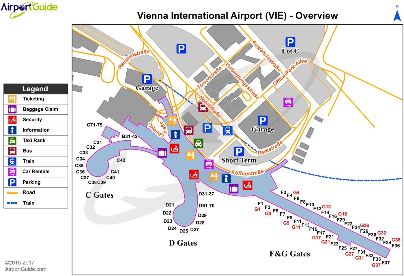 vienna airport terminal mappa - wien aeroporto mappa (austria)